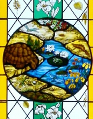 Naturalist Gilbert White window at St Marys Church Selborne Hampshire centre