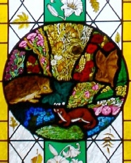 Naturalist Gilbert White window at St Marys Church Selborne Hampshire lower