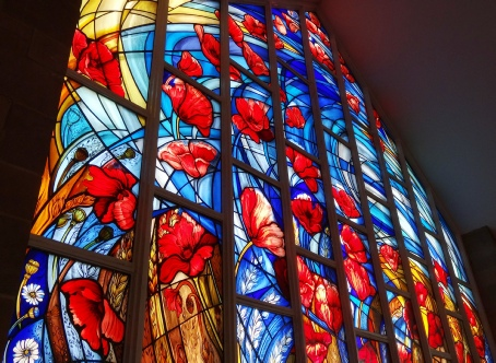 Remembrance 'Poppy' WW1 memorial contemporary stained glass window design by artist Jude Tarrant