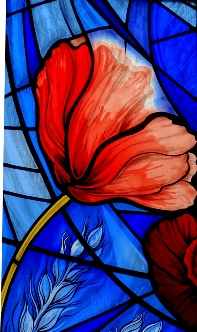 'Poppy' Remembrance WW1 memorial stained glass window St John's School Chapel by stained glass artist Jude Tarrant