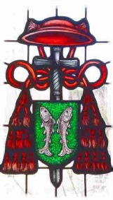 cardinals shield stained glass painting