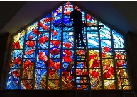 Fitting new west stained glass window to Surrey Chapel
